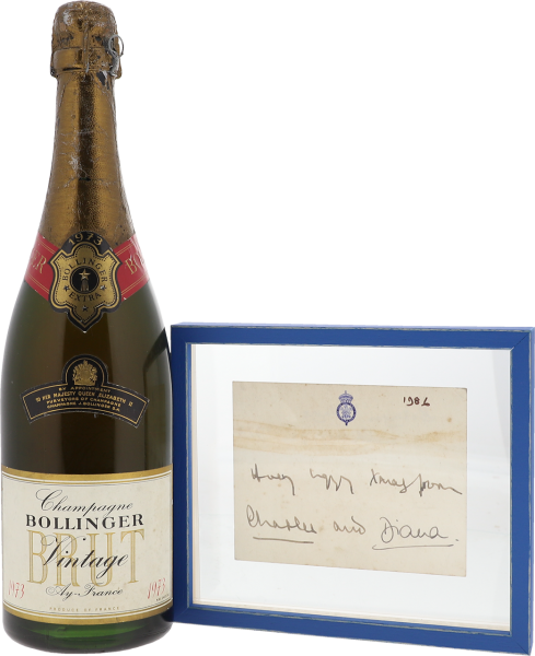 1973 Bollinger Vintage Brut - with compliments card signed by Prince Charles & Lady Di